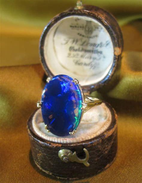 18k black opal solid vintage ring gold box