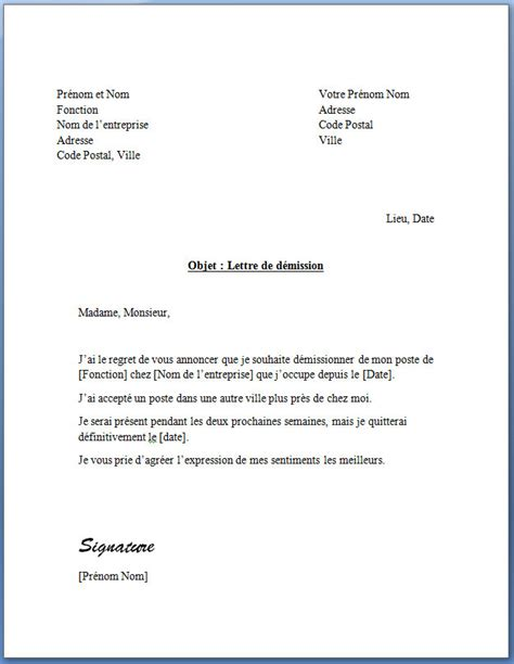 Exemple De Lettre De Démission D Une Nounou Lettre De D 233 Mission Cdi Application Letter