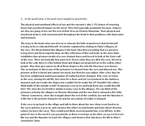 Baccalaureate Reflective Essay by Reflective Statement Balzac And The Seamstress International Baccalaureate