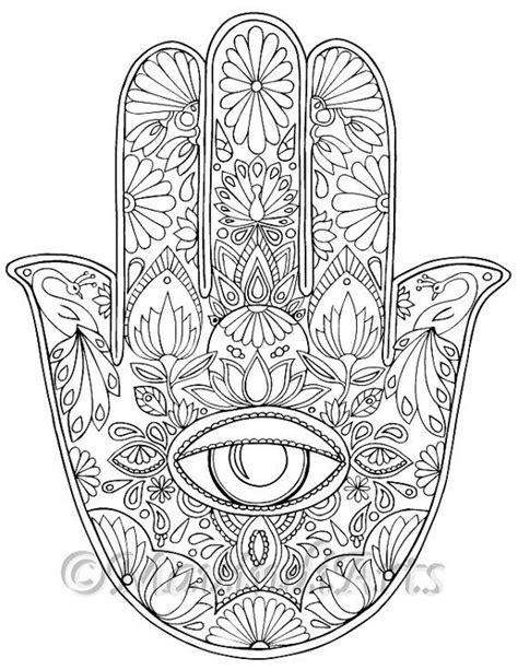 hindu mandala coloring pages hand drawn adult coloring page print quot hamsa eye
