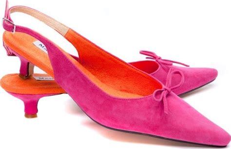 pink orange suede kitten heels 4 cm heel