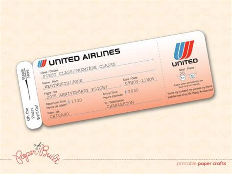 Airline Ticket Gift Card - printable united airlines style airline ticket boarding pass gift card ticket