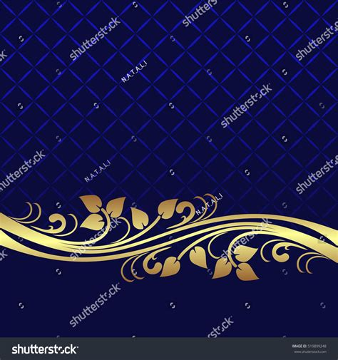 Navy Wedding Background by Navy Blue Background Decorated Floral Stock Vector