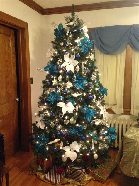 blue theme christmas tree christmas pinterest