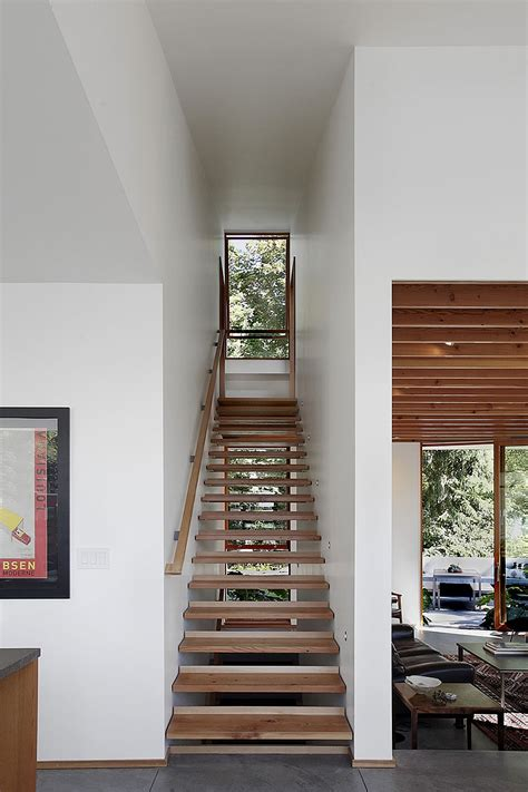 Narrow Stairs Design Eco Friendly Seattle House Blends Sustainability With Cheerful Elegance