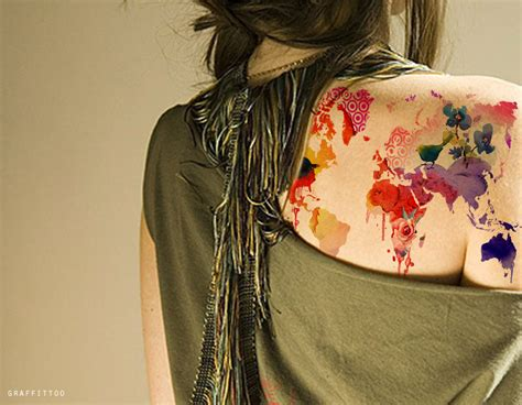 watercolor tattoos map the watercolor for the world map ink tattoos