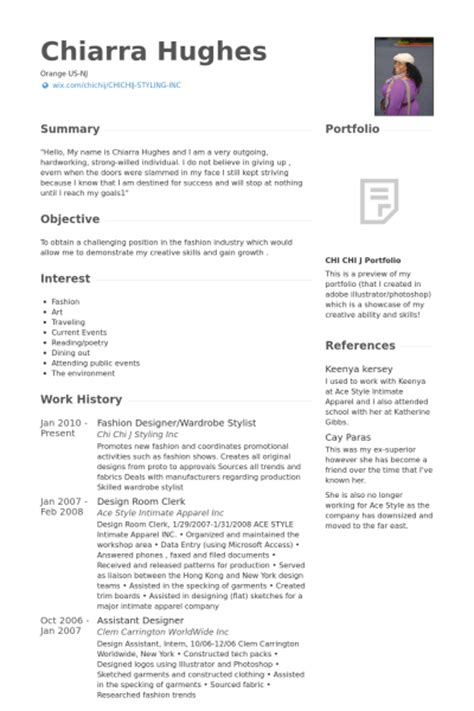 fashion stylist resume format fashion designer resume sles visualcv resume sles