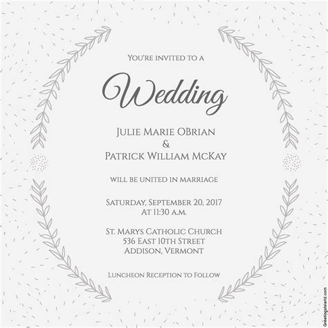 church wedding invitation card template stylized laurels wedding invitation 72 beautiful wedding