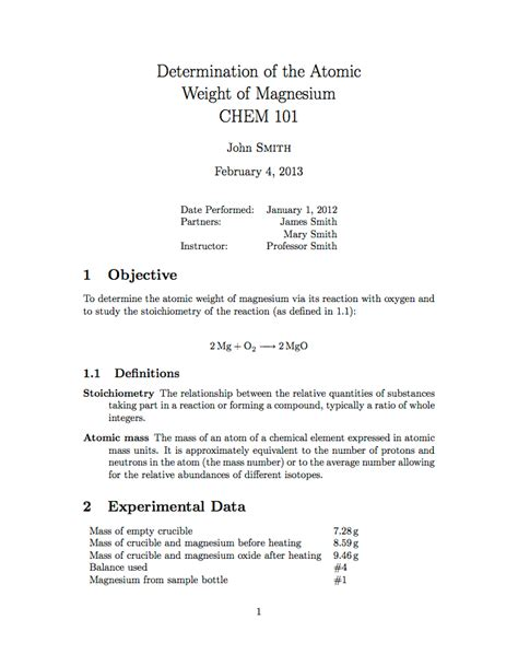 basic layout of a scientific report latex templates 187 university school laboratory report
