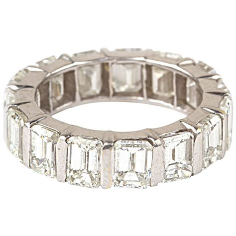 emerald cut gold eternity band ring for sale at
