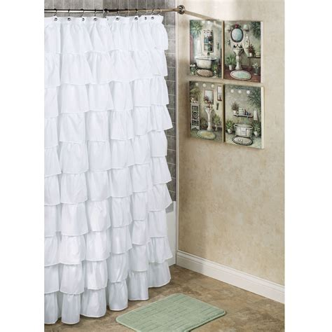 In Shower Curtain - incredible white ruffled extra long shower curtain with artwork bathroom wall as well as grey