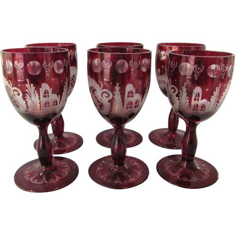 gorgeous set 6 very large bohemian czech cut glass crystal old czech bohemian glass deep ruby cut to clear set of 6
