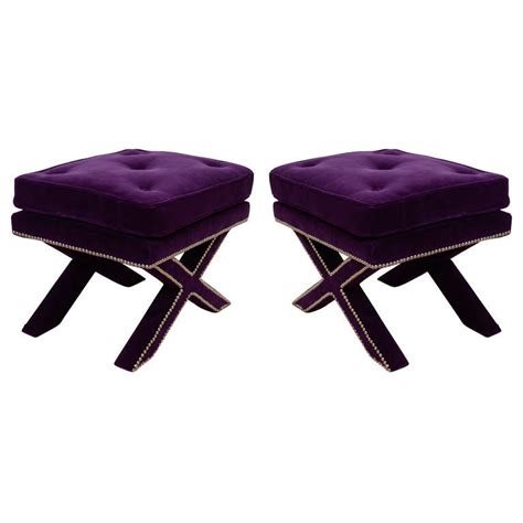X Base Stool Upholstered by Pair Of Mid Century X Base Stools With Purple Velvet Upholstery At 1stdibs