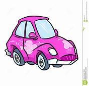 Cartoon Pink Women Car Illustration Stock