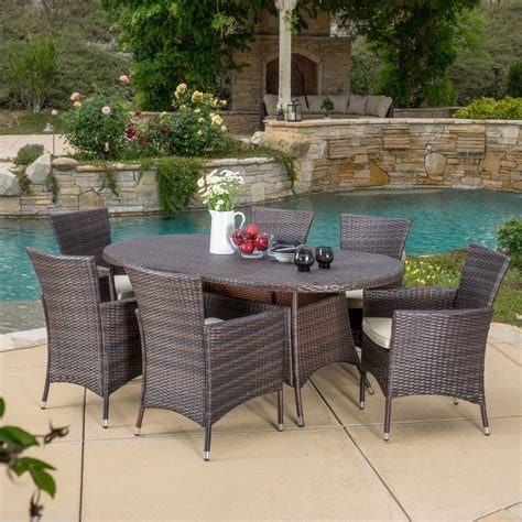 outdoor patio furniture pcs brown wicker dining set  cushions ebay