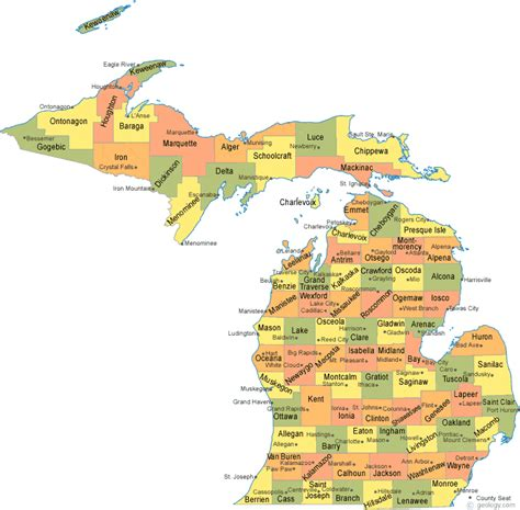 map of cities in michigan michigan county map