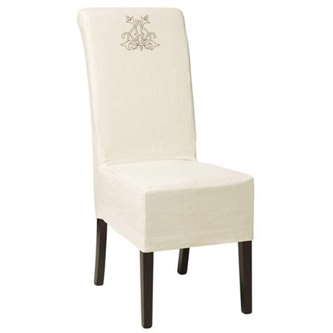 Linen Dining Chair Covers Linen Monogram Cover For Echo Chair Oka