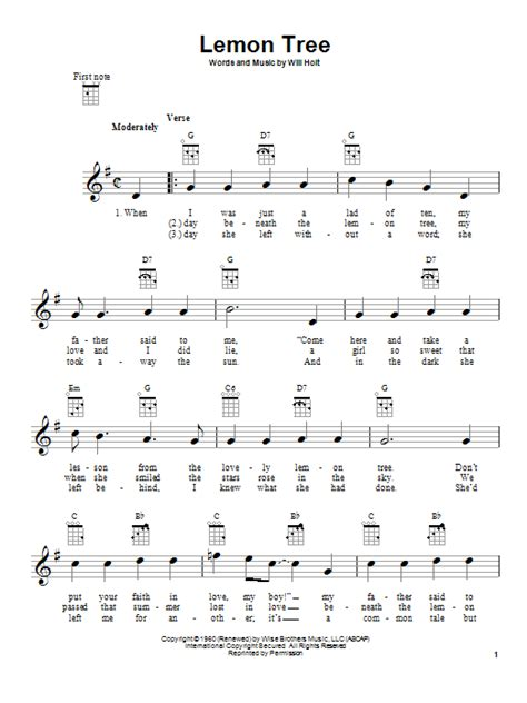 Lemon Tree Guitar Chords