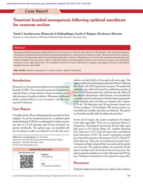 cesarean section procedure pdf transient brachial monoparesis following epidural