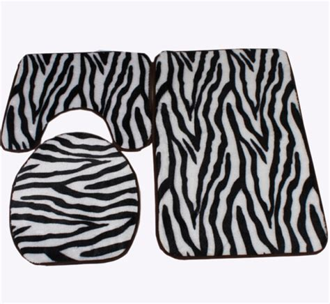 Zebra Bathroom Rug Zebra Print Black And White Bath Mat Toilet Rug Set 3 Non Slip Bathroom Washable