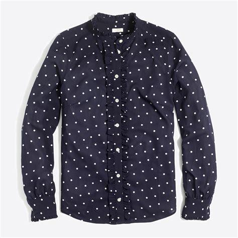 Atasan Import Ruffle Polkadot ruffle front polka dot blouse factorywomen blouses tops factory