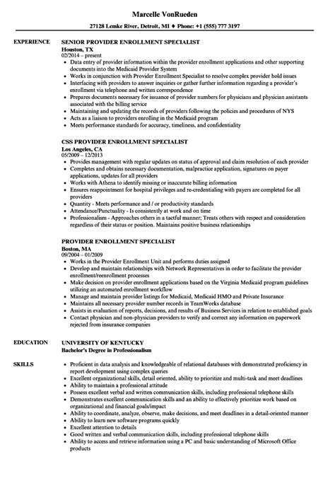 Enrollment Specialist Cover Letter by Provider Enrollment Specialist Sle Resume List Of Reliable Sources For Research Papers Resume