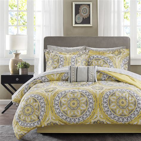 Yellow Grey Bedding Sets Beautiful Modern Tropical Bed In A Bag Yellow Grey Comforter Set Sheets Ebay