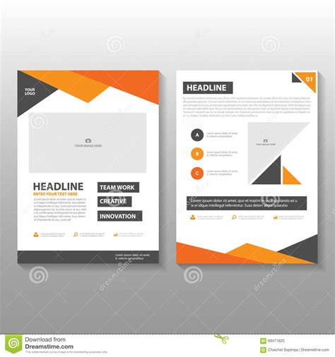 business report layout design triangle orange black annual report leaflet brochure flyer