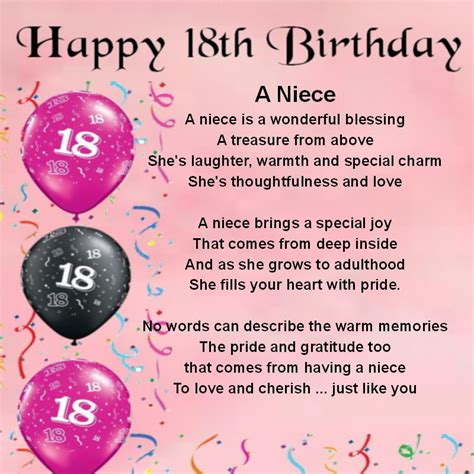 Birthday Quotes For Niece From Personalised Coaster Niece Poem 18th Birthday Free