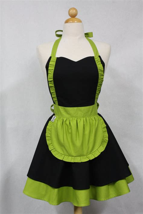 pattern for french maid apron apron french maid solid black with lime green double circle