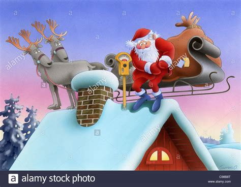 santa claus with reindeer on the house roof parking meter
