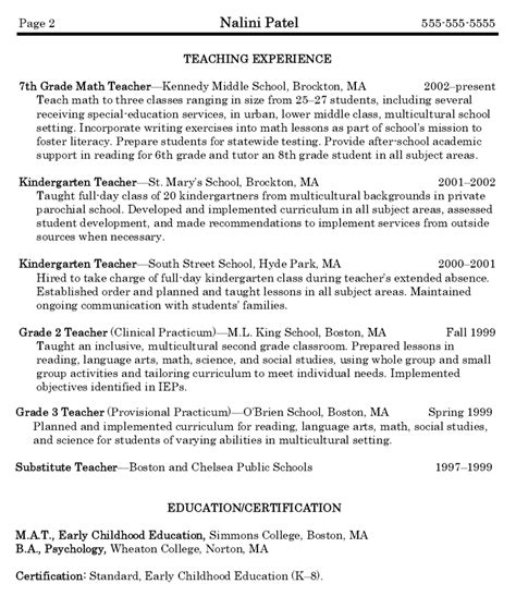Free Sles Of Resume For Teachers Tutor Resume For Teachers Sales Lewesmr