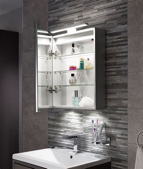 bathroom mirror cabinets with led lights led bathroom illuminated cabinet with over mirror light
