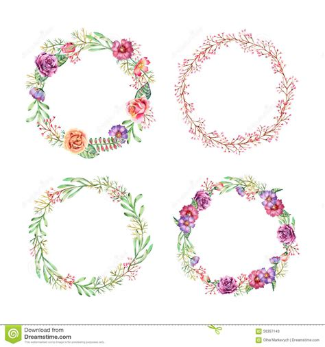 Watercolor wreaths stock vector. Image of decoration