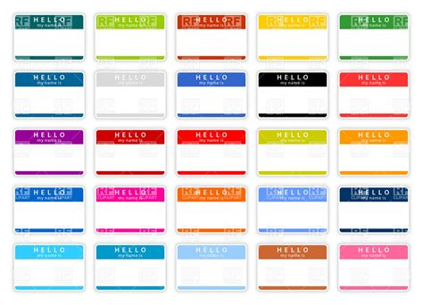 Printable Name Tag Color | set of simple color name tags blank templates royalty