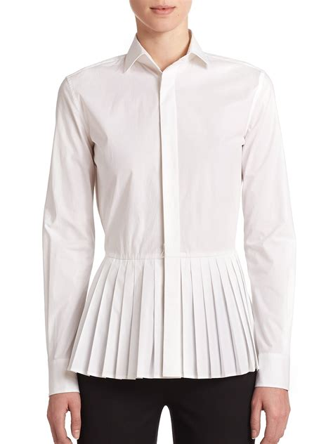 White Peplum Blouse ralph adria stretch cotton peplum blouse in white lyst