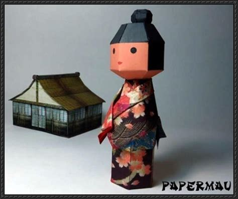 Japanese Paper Crafts Free - kokeshi traditional japanese doll papercraft free template