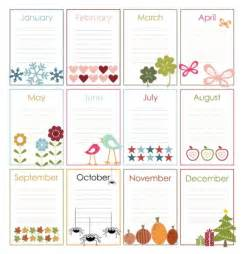 Birthday List Template By Month Free Printable Perpetual Calendars Project Life