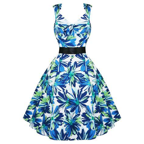 donna blue green womens new blue green floral 50s vtg rockabilly