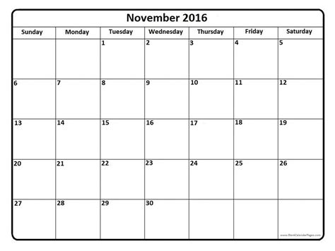printable calendar november december 2016 november 2016 calendar