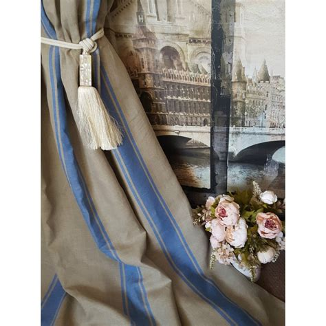 new stunning 115 quot w 113 quot d blue striped 100 linen blackout lined curtains stylish