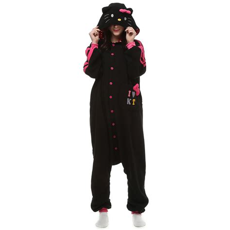 Kt Pj Top So49 Detail Di Pic black kt cat kigurumi costume unisex fleece pajamas onesie cosplaymades