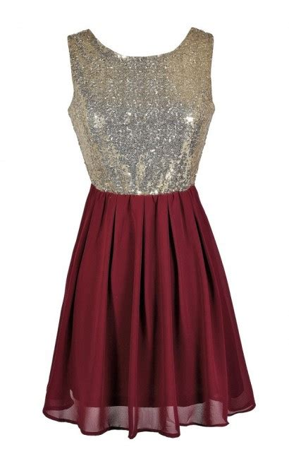 Bustier Zipper Polyester Maroon and gold sequin dress burgundy sequin dress