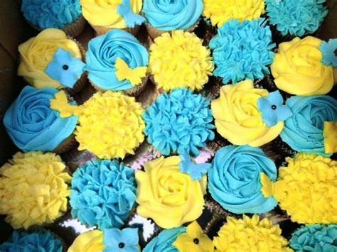 blue and yellow wedding cupcakes blue and yellow cupcakes bridal showers and weddings
