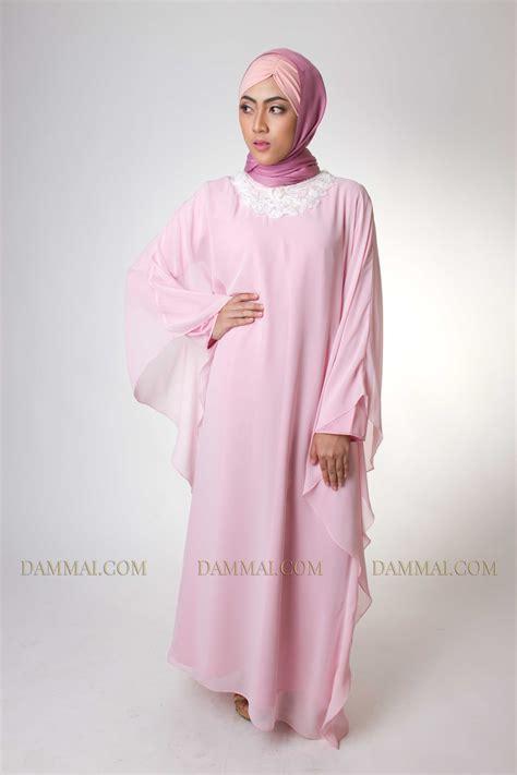 Baju Muslim Wanita Pastel Dress I pink pastel modern gamis dammai