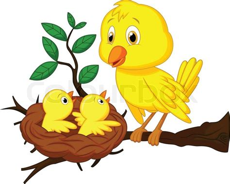 House Plans by Mother And Baby Bird Cartoon Stock Vector Colourbox