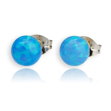 blaike 8mm blue white green opal stud earrings blue opal stud earrings lavan designer jeweller