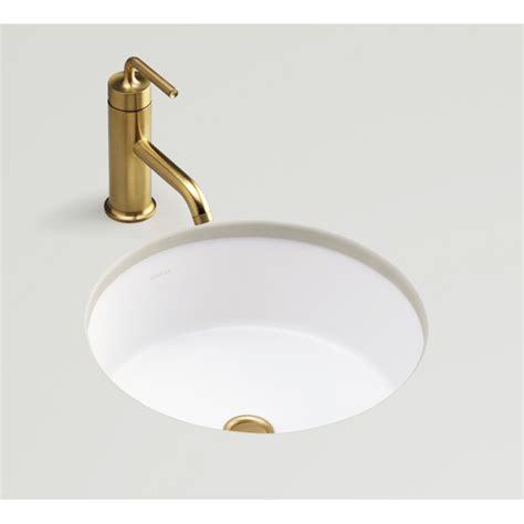 round undermount bathroom sink shop kohler verticyl honed white undermount round bathroom