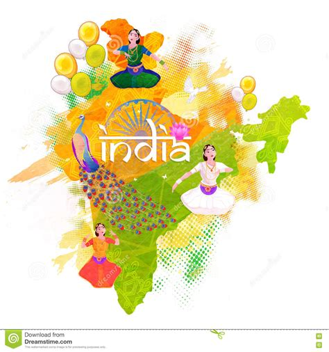 day map india independence day vector illustration cartoondealer