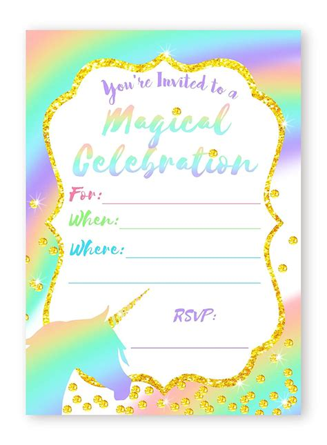 birthday invitation card sle free unicorn pastel large invitations rainbow invitations